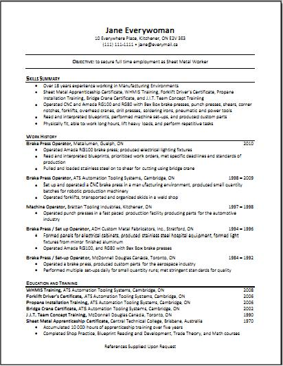 chronological resume the working centre - Canadian Sample Resume