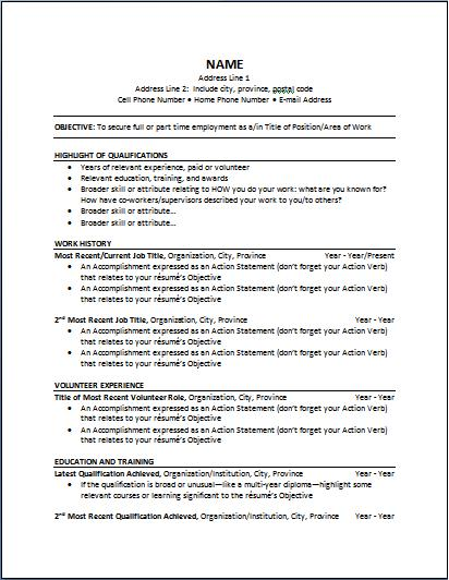 chronological resume the working centre