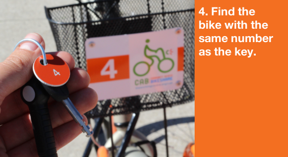 4. Find the bike that is the same number as the key.